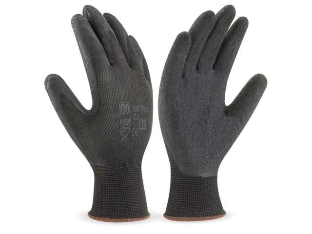 Gants nylon enduit latex de couleur noir contact cjwork - Gant latex noir ...