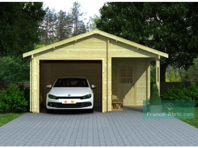 Garage bois 44 mm 1 v hicule r serve id745 contact for Garage en bois en solde