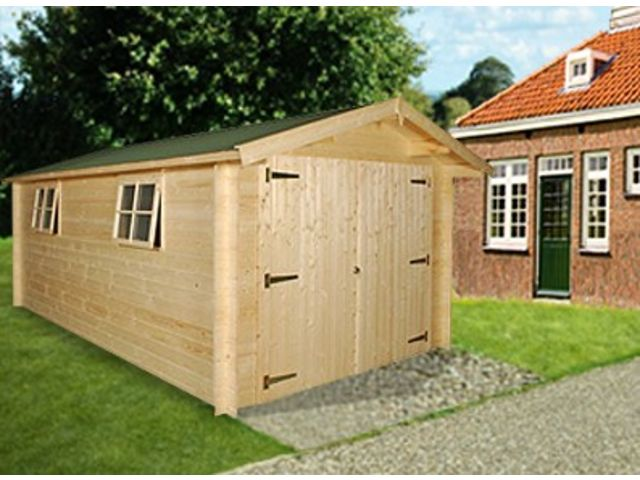 Garage bois madrier 28 mm id579 contact france abris for Abri garage bois