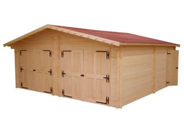 Garage double en bois madrier 60 mm ID2303  Contact FRANCE ABRIS