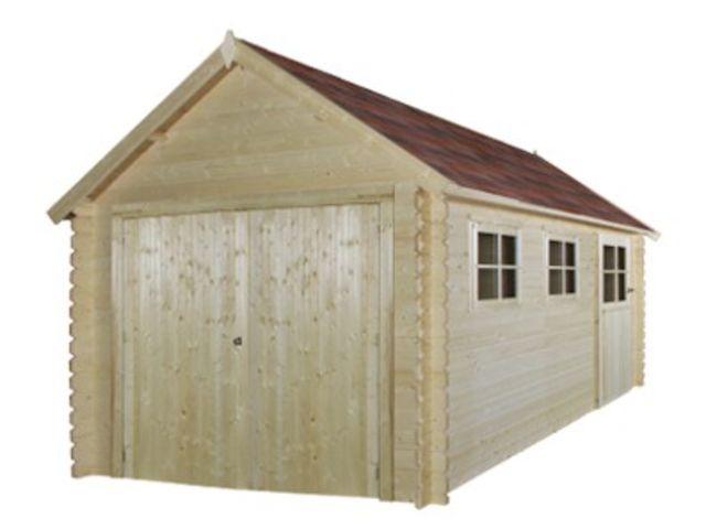 garage en bois madrier 28 mm id2235 toiture bi pente id al neige ou montagne pente 36. Black Bedroom Furniture Sets. Home Design Ideas