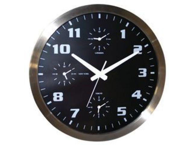 Horloge murale avec 4 fuseaux horaires contact manutan for Horloge murale 40 cm