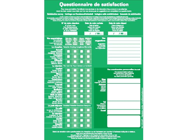 Exceptionnel HOTEL - QUESTIONNAIRE DE SATISFACTION | Contact GUILLARD PUBLICATIONS EH27