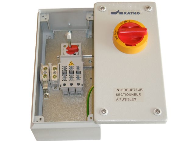 Interrupteur sectionneur fusibles coffret acier contact energie levage - Sectionneur porte fusible telemecanique ...