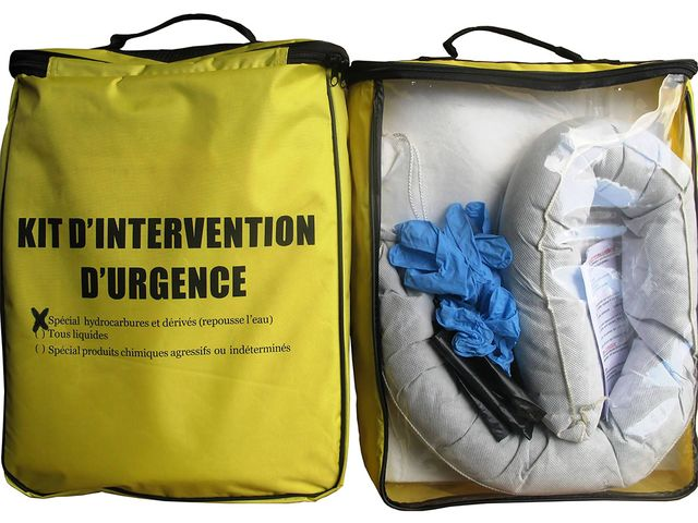 Kit d'intervention d'urgence : absorbants conditionnés dans une sacoche
