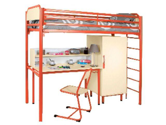 lit mezzanine cosy 90x190 cm sommier agglo bureau rehausse et armoire gris alu contact. Black Bedroom Furniture Sets. Home Design Ideas