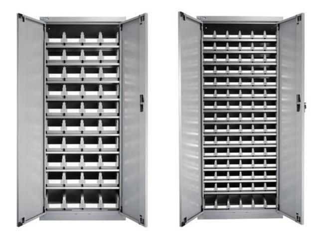 Lot de 2 armoires porte bac avec portes 136 bacs bec - Bac a bec plastique pas cher ...