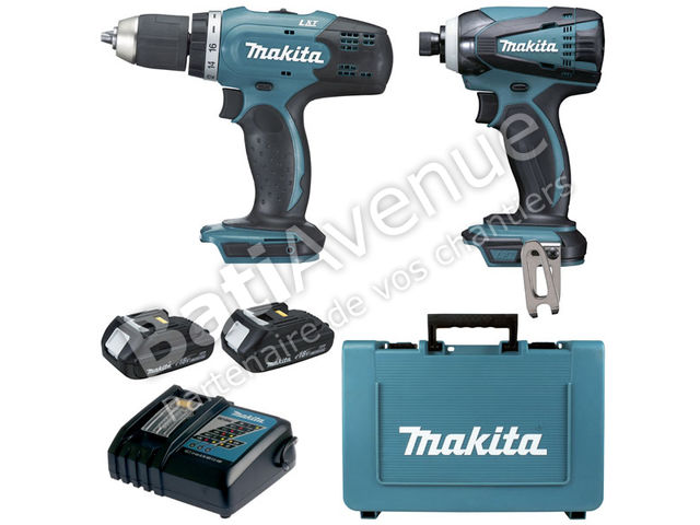 makita coffret 2 machines 18 v lxt perceuse visseuse. Black Bedroom Furniture Sets. Home Design Ideas