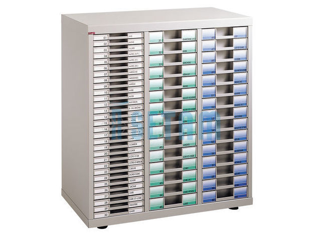 Meuble classement plat avec 60 casiers tiroirs contact for Armoire a tiroirs de bureau