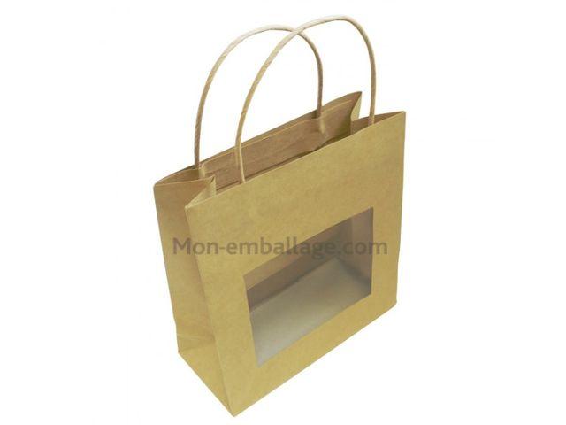 Moyen sac kraft brun avec fen tre 18 x 8 x 19 cm et for Sac kraft fenetre