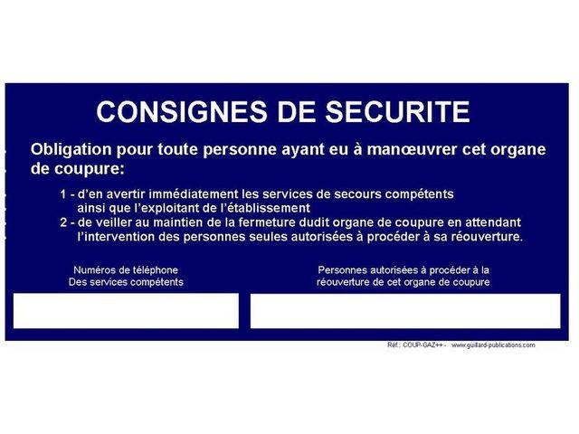 Panneau De Coupure Gaz Consignes De Securite Coup