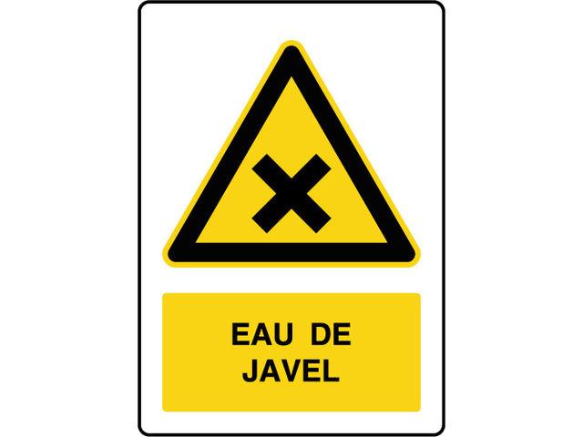 Panneau de danger vertical eau de javel contact virages - Eau de javel danger ...