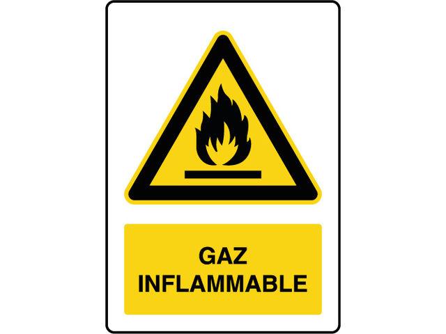 Panneau de danger vertical gaz inflammable   Contact VIRAGES