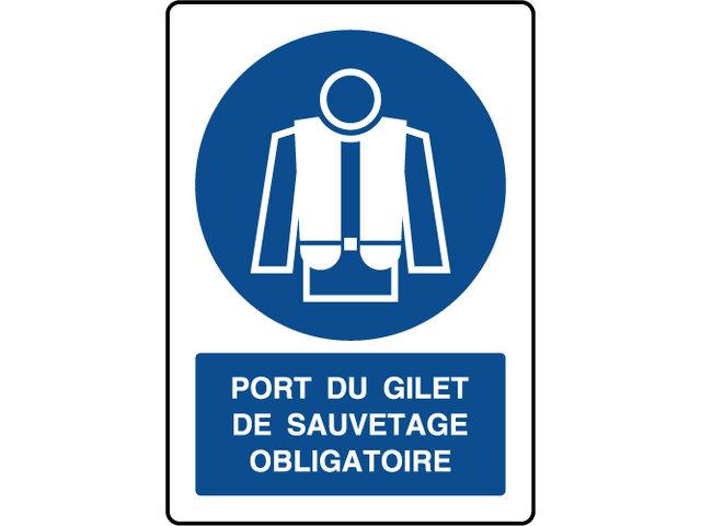 Panneau vertical port du gilet de sauvetage obligatoire contact virages - Port du gilet obligatoire ...