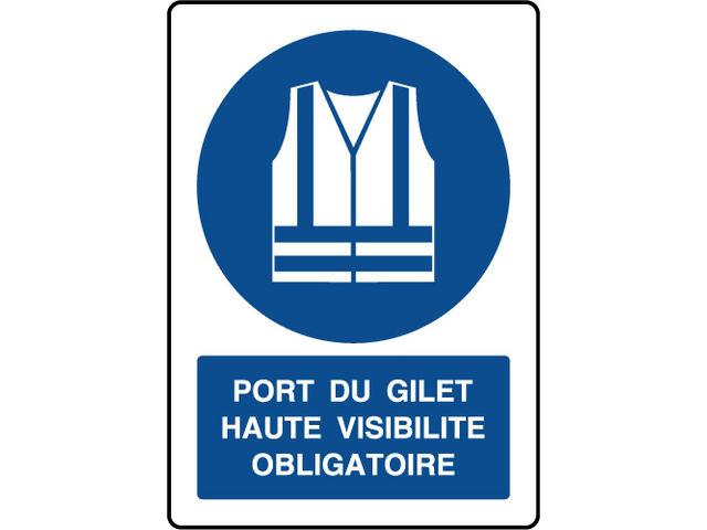 Panneau vertical port du gilet haute visibilit obligatoire contact virages - Port du gilet obligatoire ...