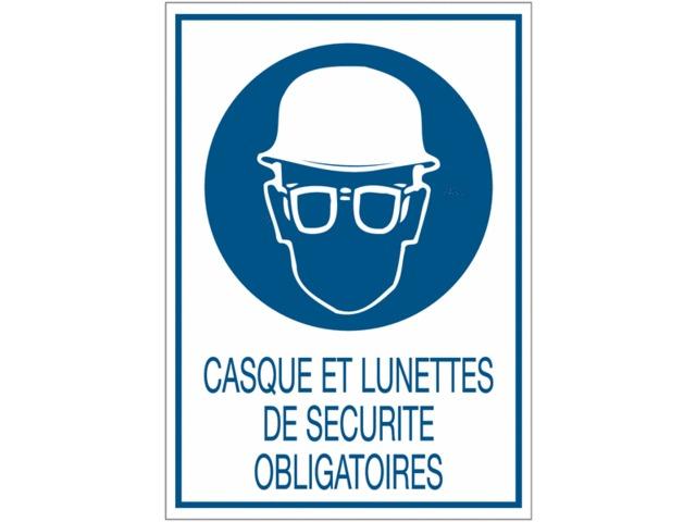 Panneaux de signalisation de s curit standards casque - Port des lunettes de securite obligatoire ...