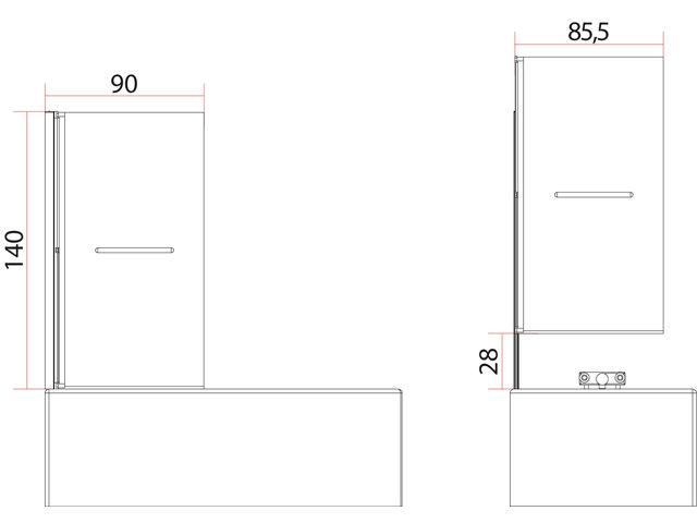 pare baignoire luxo relevable 1 volet contact t r va direct. Black Bedroom Furniture Sets. Home Design Ideas