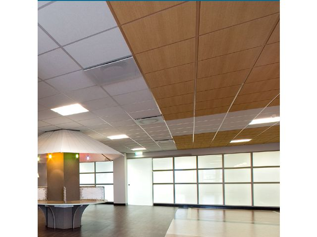 Plafond acoustique en laine de roche ligna contact rockfon for Faux plafond acoustique