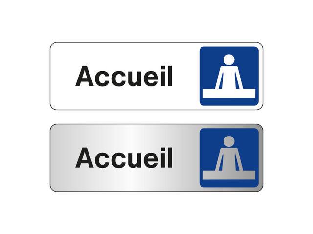 Plaque De Porte Accueil Fond Blanc Ou Alu Contact SIGNALS - Plaque de porte