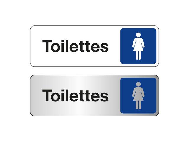 Plaque De Porte Toilettes Femmes Fond Blanc Ou Alu Contact SIGNALS - Plaque de porte