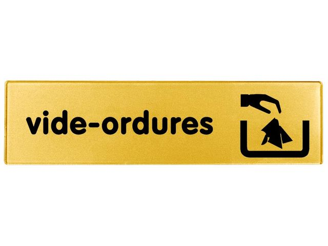 Plaquette Vide ordures - Plexiglas or 170x45mm - 4491295