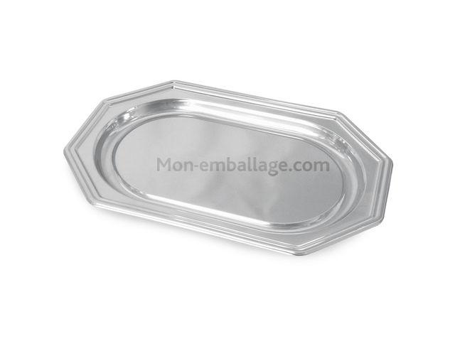plat de pr sentation octogonal argent 36 x 24 cm par 5 contact mon emballage. Black Bedroom Furniture Sets. Home Design Ideas