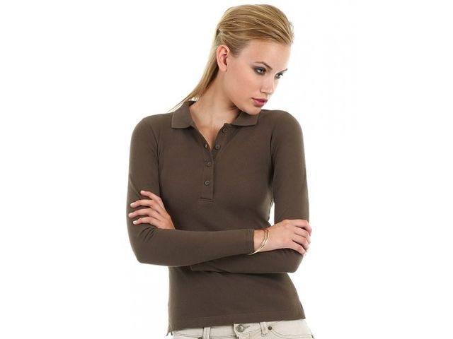 Polo safran femme manches longues_ADD ON TEXTILE_1