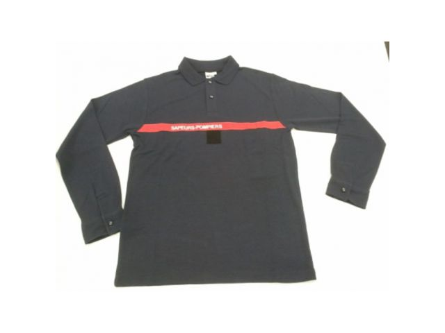 Polo sapeurs-pompiers maille non feu marine manches longues_VETEMENTS PROTECTION SECURITE