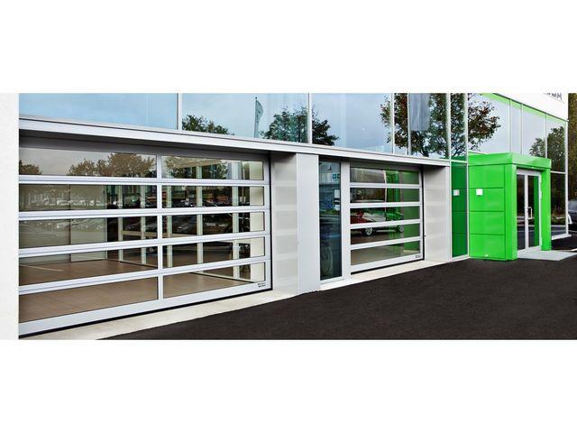 porte sectionnelle enti rement vitr e contact assa abloy. Black Bedroom Furniture Sets. Home Design Ideas