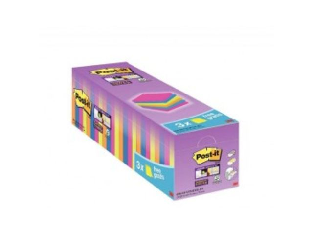 Post-It Super Sticky néon 24 blocs dont 3 gratuits. 76 x 76 mm.