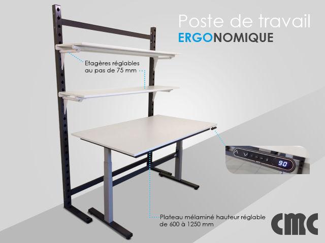poste de travail ergonomique r glable en hauteur contact cmc stockage et transitique. Black Bedroom Furniture Sets. Home Design Ideas
