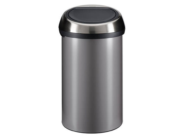 poubelle 60 litres brabantia touch bin ronde inox platinium contact maxiburo. Black Bedroom Furniture Sets. Home Design Ideas