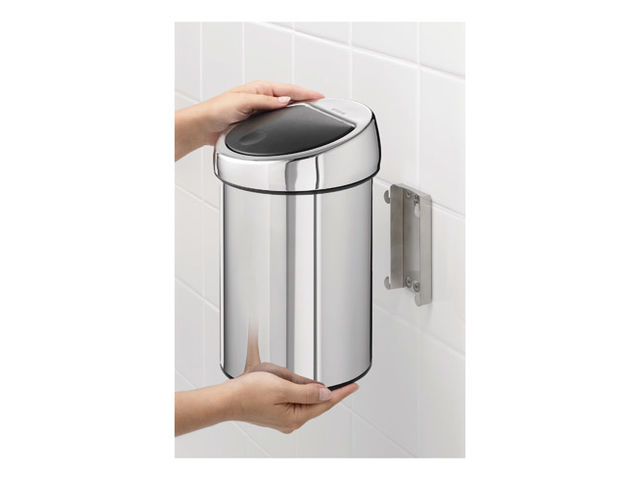 poubelle murale 3 litres brabantia touch bin ronde inox brillant contact maxiburo. Black Bedroom Furniture Sets. Home Design Ideas