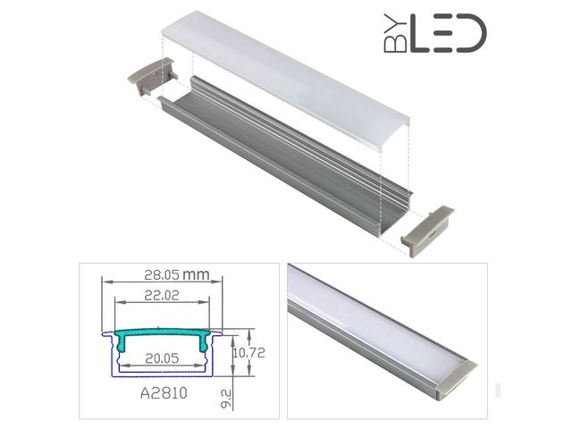 Profilé LED aluminium encastrable large - CRAFT - E08 - FRANCE LED DIFFUSION - ByLED