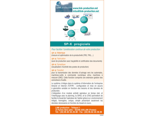 Progiciel d'analyse de productivité et de suivi de production multi-industries SP-X progiciels