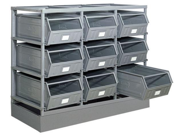 rack de rangement 9 postes avec bacs m talliques vernis 88 litres contact setam rayonnage et. Black Bedroom Furniture Sets. Home Design Ideas