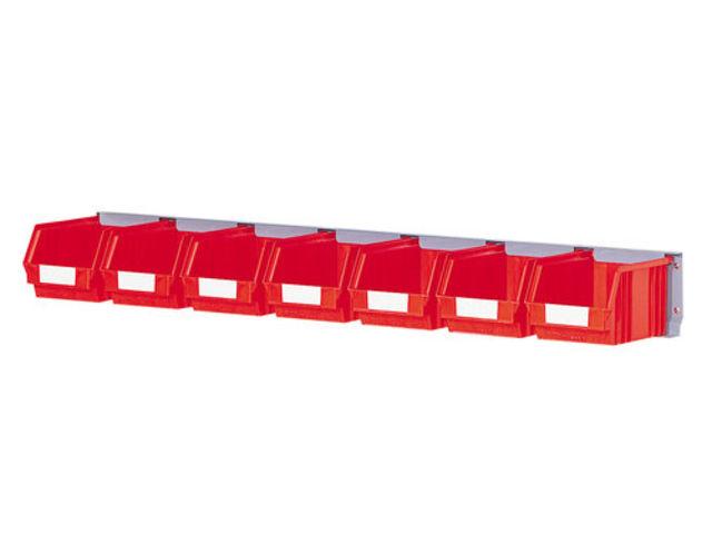 rail porte bacs avec 7 bacs plastique 3 8 litres contact setam rayonnage et mobilier professionnel. Black Bedroom Furniture Sets. Home Design Ideas