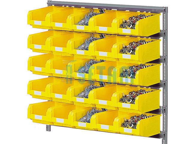 Rayonnage porte bacs mural avec 25 bacs plastique 9 4 - Porte photo mural plastique ...