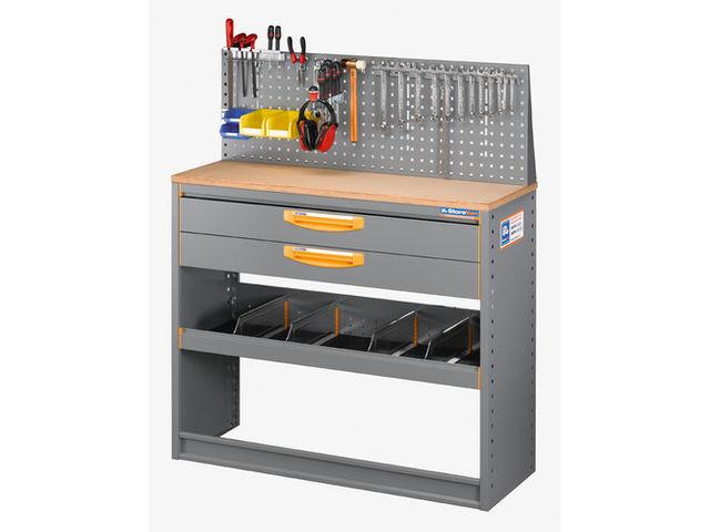 rayonnage pour fourgon avec plan de travail tiroir et 1 rang de casiers longueur 2. Black Bedroom Furniture Sets. Home Design Ideas