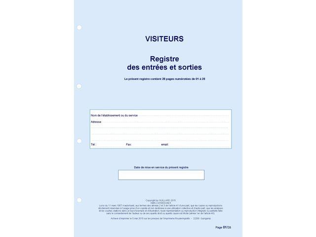 Registre Dentres Et Sorties De Visiteurs