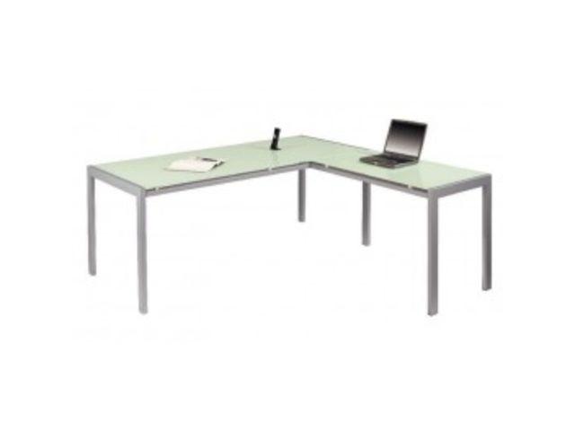 Retour de bureau en verre cm coloris blanc et aluminium