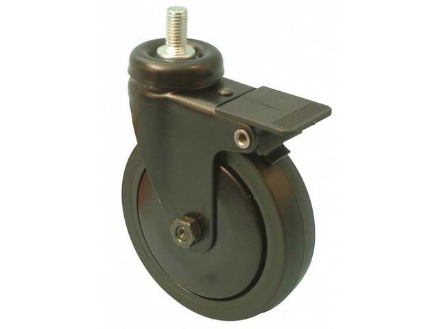 Roulette NOIR pivotante à frein Ø50 fixation à tige filetée caoutchouc noir