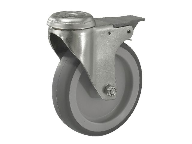 roulette pivotante en acier inoxydable force 80 100 kg avec frein contact manutan. Black Bedroom Furniture Sets. Home Design Ideas
