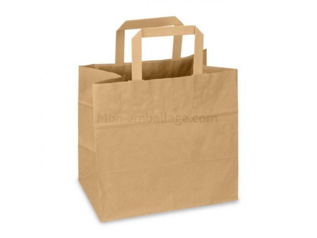 sac cabas kraft brun poign es plates 32 x 17 x 27 cm paquet de 50 contact mon emballage. Black Bedroom Furniture Sets. Home Design Ideas