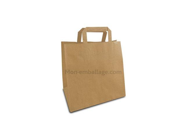sac papier kraft brun poign es plates 26 x 17 x 25 cm par 50 contact mon emballage. Black Bedroom Furniture Sets. Home Design Ideas