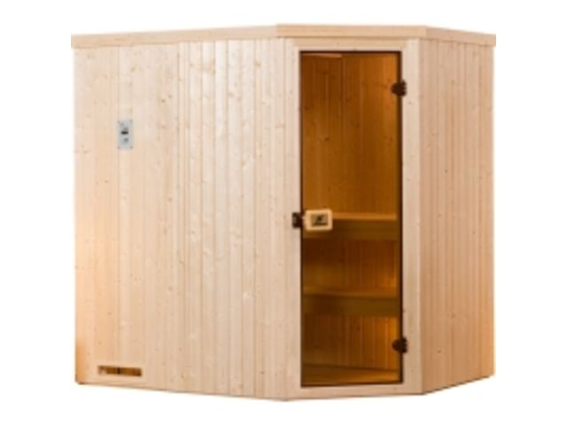 sauna d 39 angle kasala 2 exklusiv os po le 230 v 4 5 kw avec po le lumi res et c bles contact. Black Bedroom Furniture Sets. Home Design Ideas