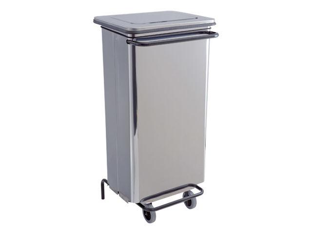 support de sacs poubelles mobile 110 litres p dale inox. Black Bedroom Furniture Sets. Home Design Ideas