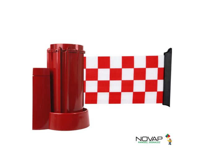 Support mural Rouge avec sangle damier Rouge/Blanc 3m x 100mm - 2053655