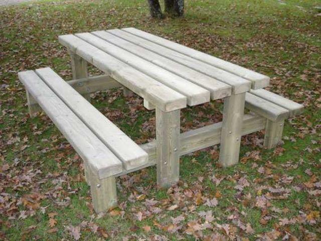 table de pique-nique en bois campagnarde rectangulaire 2 m