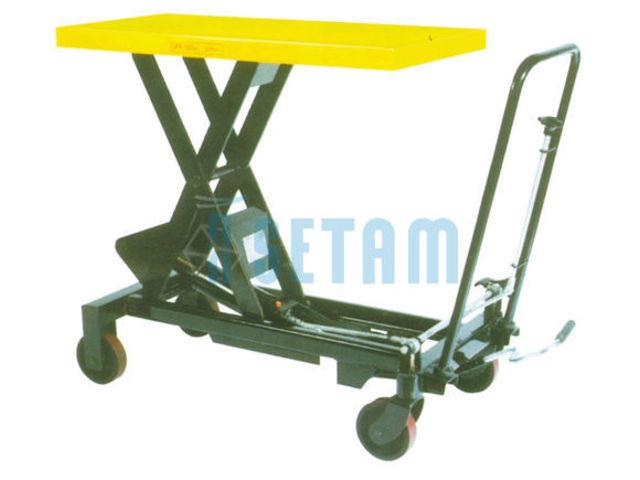 Table l vatrice double ciseaux roulante force 750 kg for Table elevatrice a ciseaux
